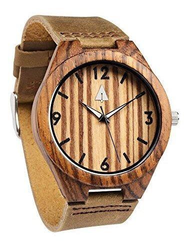 Treehut Mens Zebrawood Reloj De Madera Con Correa De Cuero M