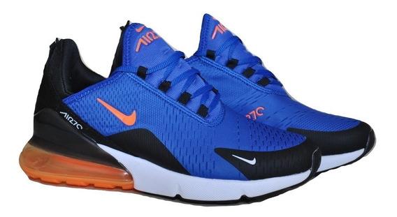 Kp3 Zapatos Caballeros Nike Air Max 270 Azul Naranja