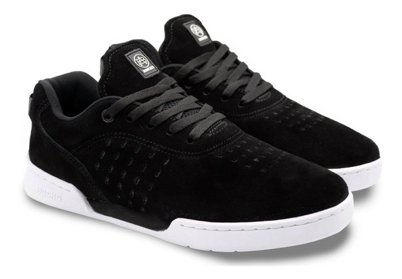 Tênis Hocks Skate Evo Preto Black Branco Masculino E Feminino Couro Sneaker Confortável Camurça Original Envio Imediato