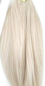 Cabelo Humano Loiro Platinado P/mega Hair 50 55cm 100gr