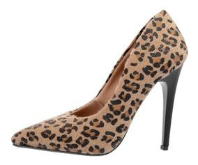 Sapato Feminino Scarpin Salto Alto 11 Cm Bico Fino Pelo Onça
