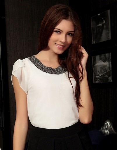 Blusa Elegante Gasa Blanca Con Pedreria Tallas S Y M Nuevo