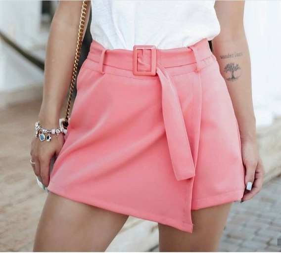 Short Saia Com Cinto Modelo Blogueira Insta Tam. M Orange