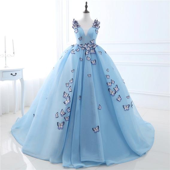 Vestido Quince Años Quinceañera Mariposas Azul Cenicienta