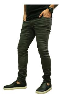 Calça De Sarja Skinny Cinza Escuro Lisa