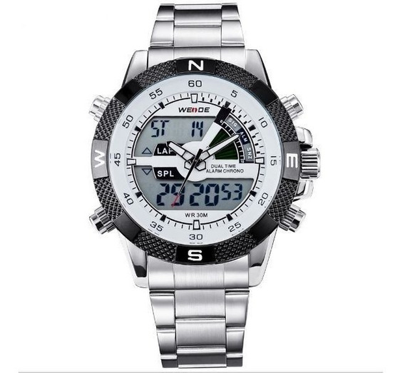 Relógio Masculino Weide Anadigi Wh-1104 Branco
