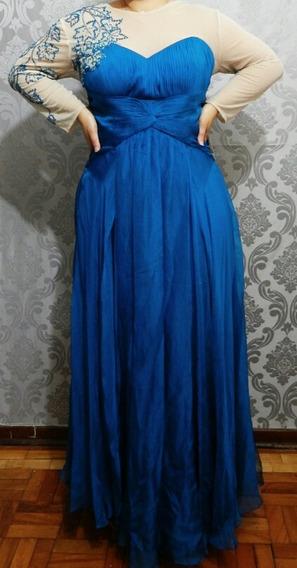 Vestido De Festa Plus Size Azul Mães Madrinhas Barato