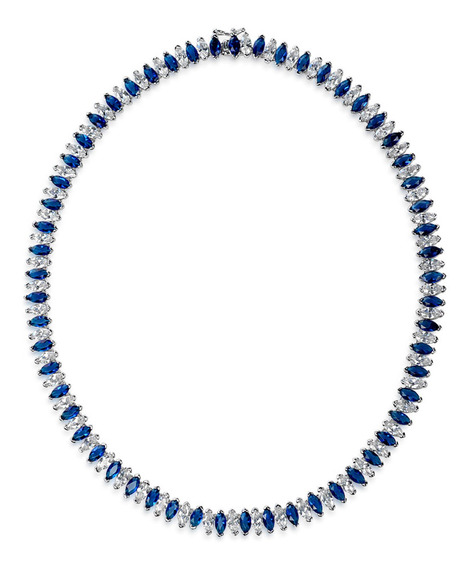 Azul Blanco Zirconia Cúbico Simulado Zafiro Marquesa Aaa Cz