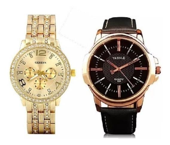 Relógios Feminino Geneva Dourado E Masculino De Luxo Social