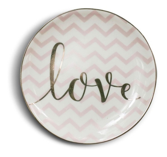 Mini Prato Decorativo Love Em Cerâmica