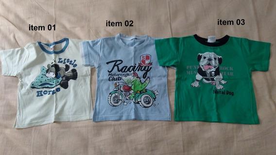 Lote Com 19 Camiseta Manga Curta Menino Infantil Criança