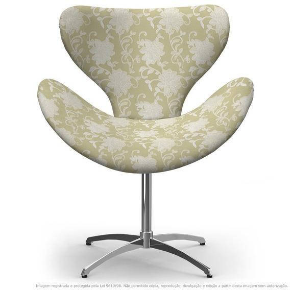 Cadeira Egg Floral Bege Poltrona Com Base Giratória