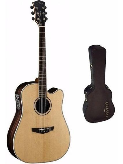 Guitarra Electro Acústica Cort Parkwood Pw-560 Nat Con Funda