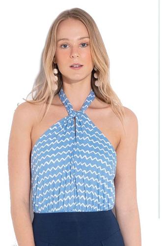 Blusa Body Feminino Azul Frente Única Bori, Roupas Feminas