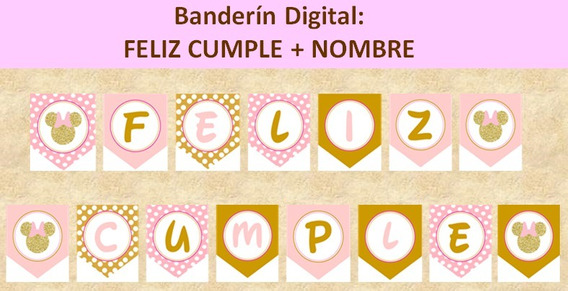 Fiesta Minnie Mouse Rosa Dorado En Mercado Libre México