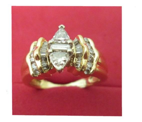 Anillo Compromiso Dama Oro 14 Kilates Diamantes Naturales.