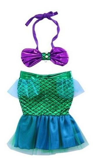 Disfraz Niña Sirenita Ariel Tutu Vestido Sirena Bikini Cola