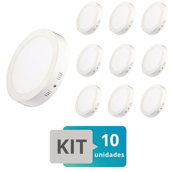 Kit 10 Painel Plafon Led Sobrepor Redondo 18w Branco Quente