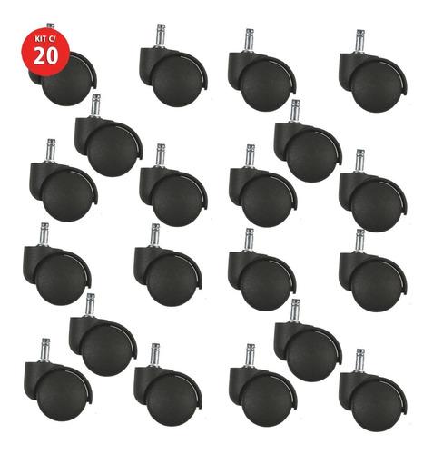 20 Roda Rodinha Rodízio Para Cadeira De Escritório Giratória