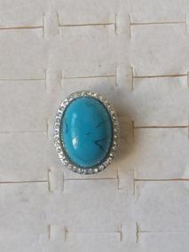 Promoção Anel Prateado Pedra Azul Strass Brancos Regulável
