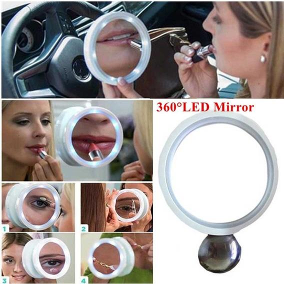Espelho Com Luz Led Maquiagem 8x Articulado Parede Banheiro