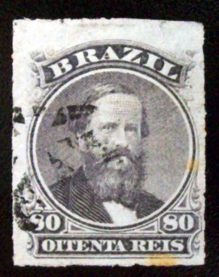 Brasil, Sello Yv. 33 Pedro Ii 80r Percé 1876 Usado L6911