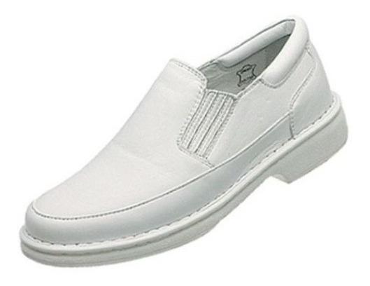 Sapato Branco Couro Antistres Macio Frete Grátis 44 45 46 47