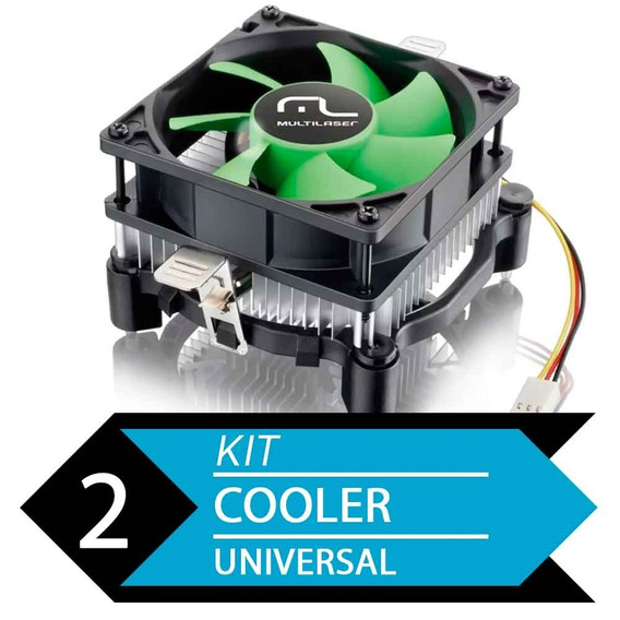 Kit 2 Cooler Uni Amd E Intel Multilaser Ga120 - Baixo Ruido