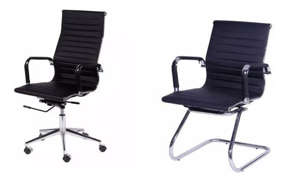 Kit Cadeiras Office Sevilha 3301: 01 Alta, 02 Fixas