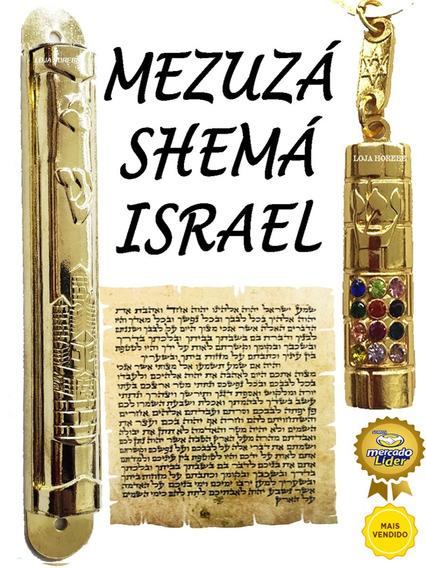 Mezuzá Shemá Cidade Jerusalém +chaveiro Mezuzá+ Pergaminho