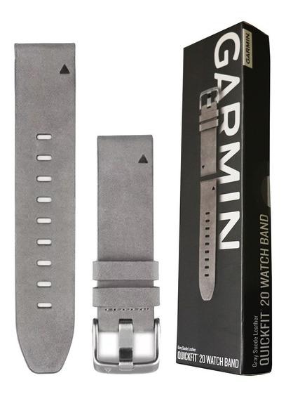 Garmin Pulseira P/ Relógio Quickfit 20 Couro Cinza Fenix 5s