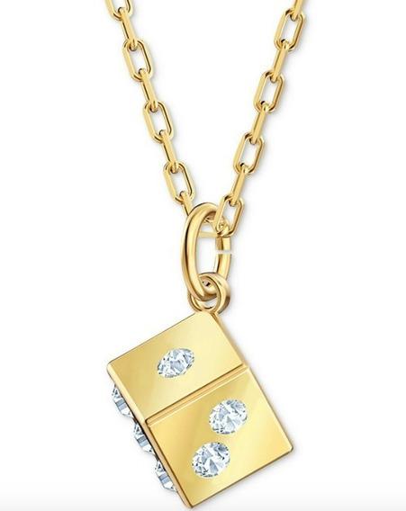 Cristal De Swarovski 3d Cubo De Oro Collar Choker