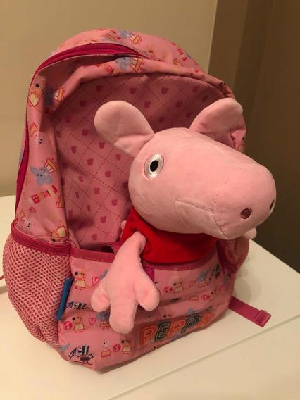 Mochila Peppa Pig Con Peluche