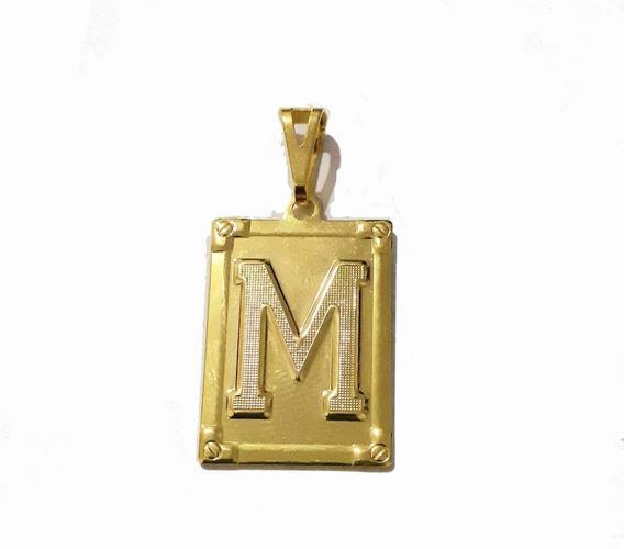 Pingente Placa Letra M Banhado A Ouro 18k Promocão