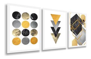 Quadro Abstrato Geométrico Lindo Tons Amarelos 120x60 Sala B