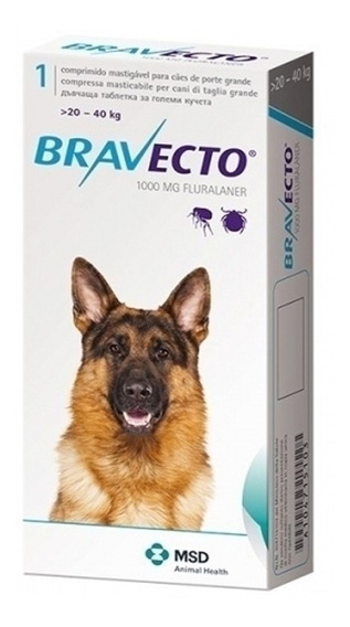 Bravecto 20 - 40 Kgs 3 Meses Pastilla Pethome Chile