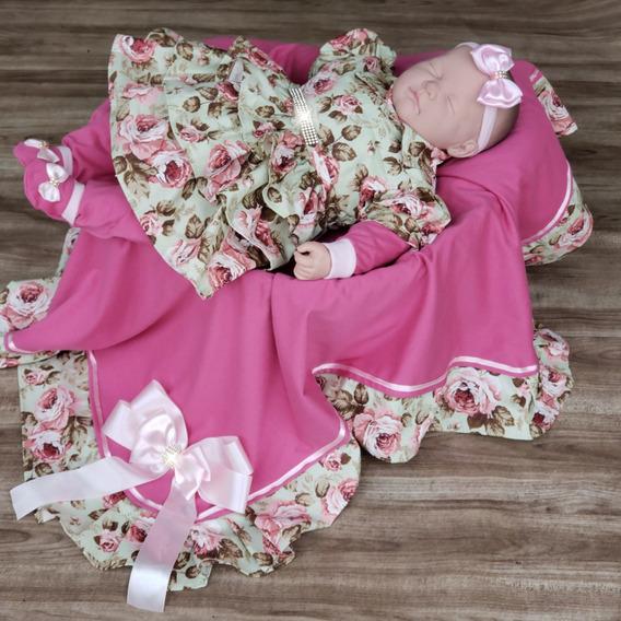 Saída De Maternidade Rosa Luxo Primavera Com Pedras E Laços
