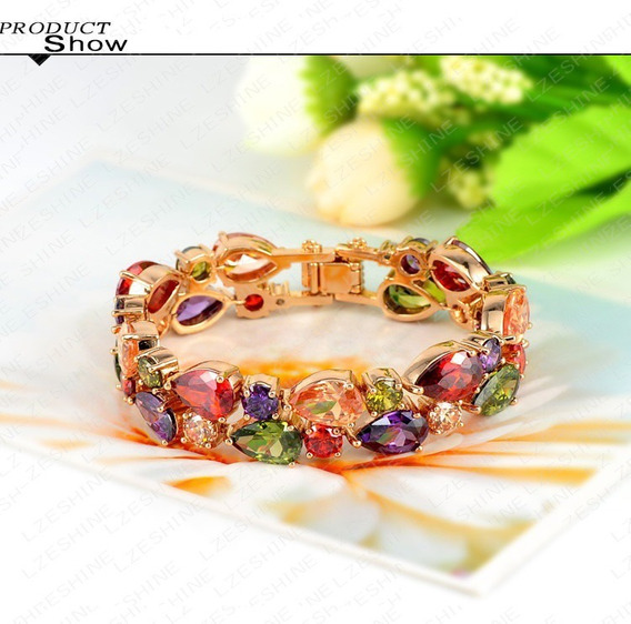 Pulseira Feminina Bracelete Banhada Em Ouro 18k + Zircônias