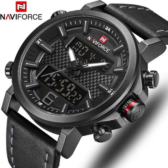 Relógio Quartz Naviforce Militar Digi/analog Pulseira Couro