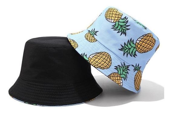 Boné Chapéu Bucket Preto Dupla Face Abacaxi Nova Moda Cores