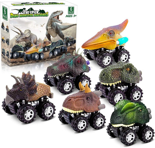 Imagen 1 de 5 de Set De 6 Autos Dinosaurios, Friccion Bestoys