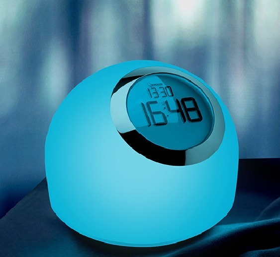 Luminária Relógio Digital Led Rgb Dimmer Touch Moderno 4.5w