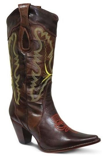 Bota Country Feminina Texana Lady Silver Couro Mustang Cafe