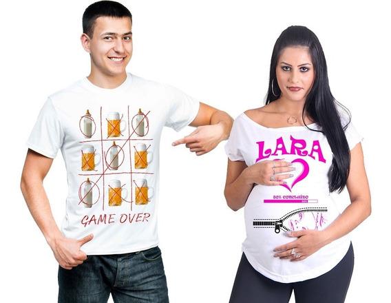 Camiseta E Bata Chá De Bebê Pai Mãe Gestante - Personalizada