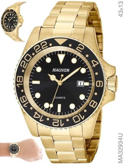 Relógio Magnum Masculino Dourado Ma32934u Em Aço
