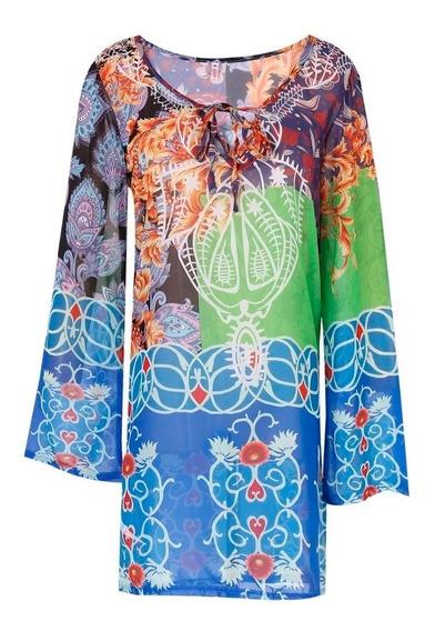 Pareo Tipo Blusa De Manga Larga Para Playa Para Mujer D1181