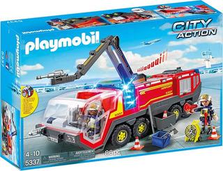 Motor De Bomberos Playmobil® Para Aeropuertos Con Luces Y Eq
