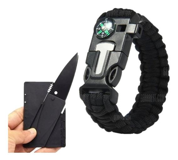 Kit Militar 01 Pulseira Paracord Preta + 01 Cartão Canivete