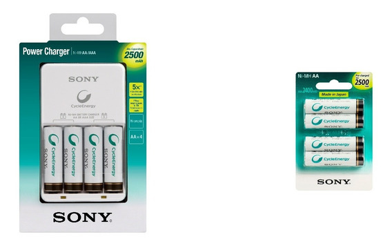 Kit Pilhas Recarregaveis Aa C/8 + Carregador Sony Bivolt