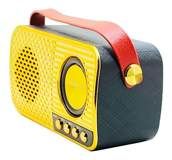 Caixa Som Bluetooth Portátil Retrô Vintage Rádio Fm Mp3 Alça